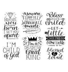 7 hand-lettering motivational bible quotes for vector image