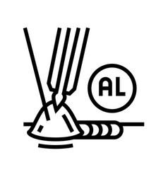 Aluminum welding line icon vector