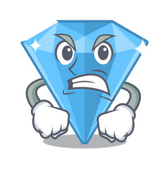 Angry sapphire gem in a mascot box vector