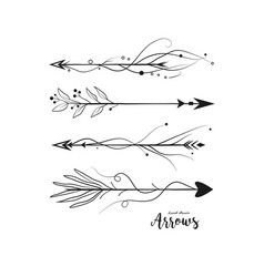 Arrows hand drawn set collection in boho style vector