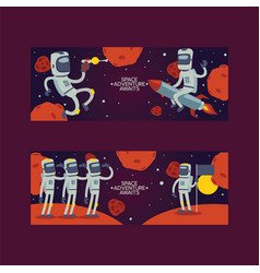 astronaut cosmonaut cartoon spaceman vector image
