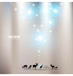 Beautiful christmas background with reindeer and p vector