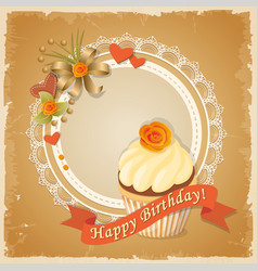 Birthday card with meringue cake ribbon and rose vector