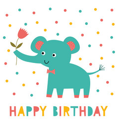 birthday greeting card with an elephant vector image