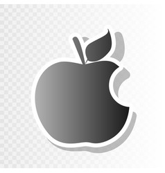 Bite apple sign new year blackish icon on vector
