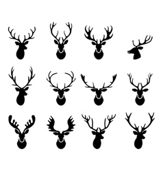 Black silhouettes of different deer horns vector