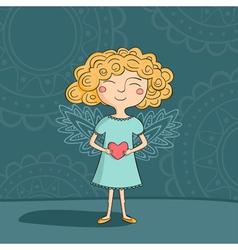 Blonde girl angel vector