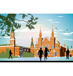 boy and girl running in the red Square hand in vector image