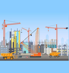 Building city skyline under construction vector