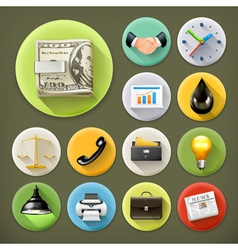 Business and office long shadow icon set vector image