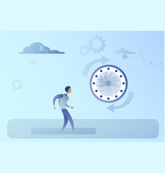 Business man with clock time management concept vector