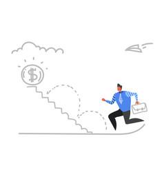 businessman climbing career ladder dollar coin vector image