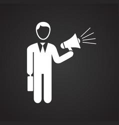 businessman with megaphone on black background vector image