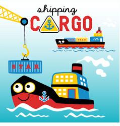 busy port with cargo ships cartoon vector image