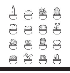 Cactus line black icon set vector