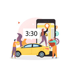 Carsharing concept for web banner website vector