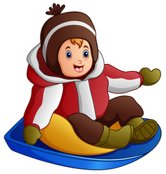 cartoon boy in winter clothes playing a sledge vector image