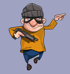 Cartoon cheerful man in bandit mask with gun vector