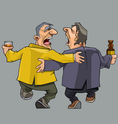 Cartoon two drunk men friends walking and singing vector