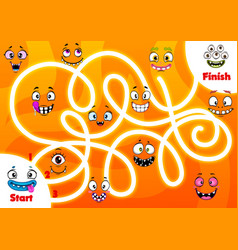 Child labyrinth game with funny monsters faces vector
