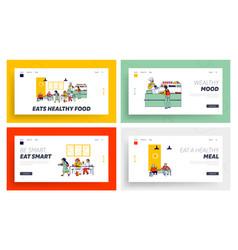 Children eat in school cafe landing page template vector