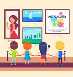 Children visiting art gallery and look at pictures vector
