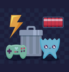 Classic video game set icons vector