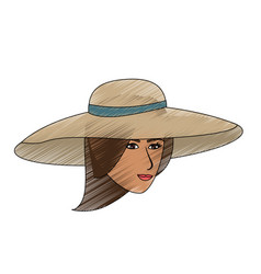 Color pencil front face woman with beach hat vector