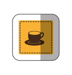 Color sticker cup with plate icon vector