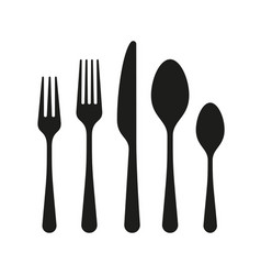 contours cutlery spoon knife forks vector image