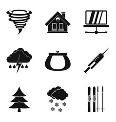 Cosiness icons set simple style vector