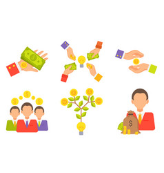 crowdfunding people with money gold coins set vector image