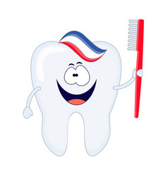 cute cartoon tooth with a red toothbrush and vector image