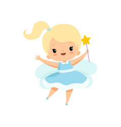 cute little tooth fairy with magic wand lovely vector image