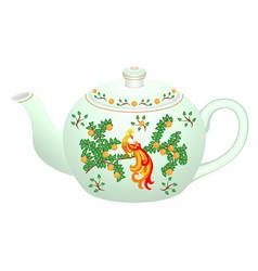 decorative porcelain teapot for tea set vector image
