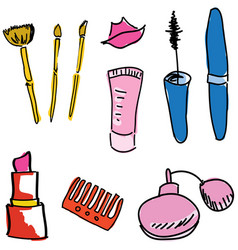 drawn colored cosmetics vector image