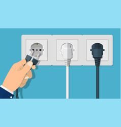 Electrical outlet and hand with plug vector