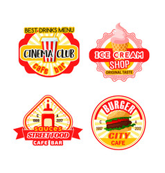 Fast food cinema bistro snacks iocns vector