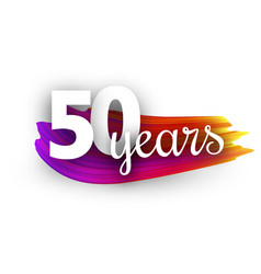 fifty years greeting card with colorful brush vector image