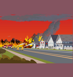 firefighters extinguish town concept forest fire vector image