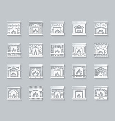 Fireplace simple paper cut icons fire set vector
