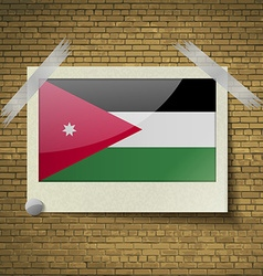Flags Jordan at frame on a brick background vector image