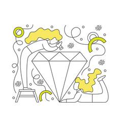 flat girl jewelers around diamond vector image