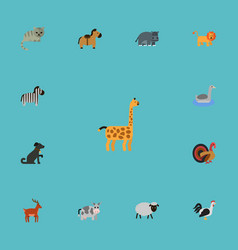 Flat icons kitty hippopotamus horse and other vector