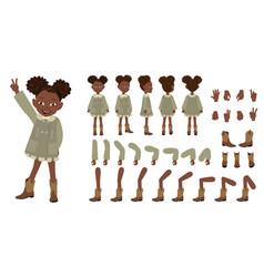 Flat of cute african american vector