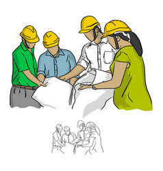 four construction engineer working in vector image