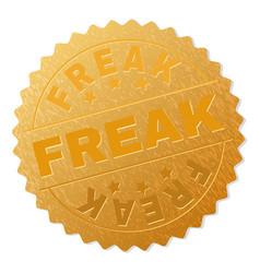 Gold freak medal stamp vector