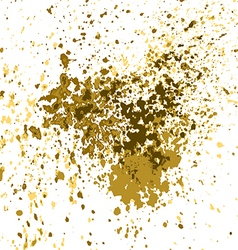 Gold paint splash splatter and blob shiny on white vector