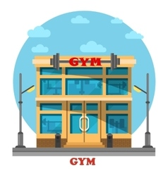Gym or gymnasium fitness center architecture vector