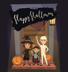 Halloween party banner with kids in costumes vector
